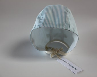 Crush / / retro baby Bonnet / / blue and white striped cotton