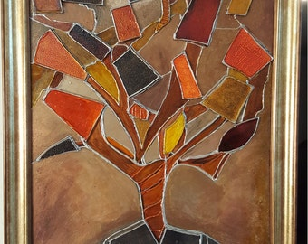 Tree of life, Paint with glass pieces