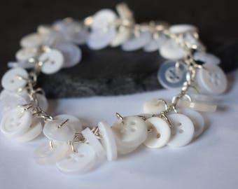 White Button Charm Bracelet