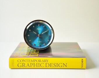 Vintage Space Age 2 Jewels Rhythm Alarm Clock - Blue - Made in Japan