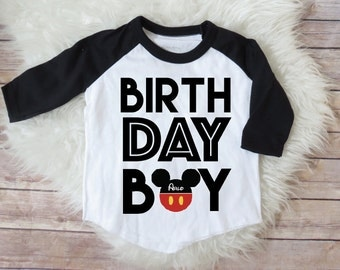 Mickey Mouse Birthday Boy Shirt,  Personalized Raglan Shirt, Mickey Mouse, Boys Clothing, First Birthday, Kids Clothing