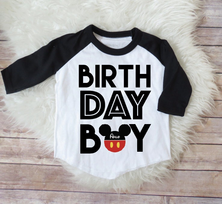 Birthday Boy Mickey Mouse Personalized Raglan Shirt Mickey