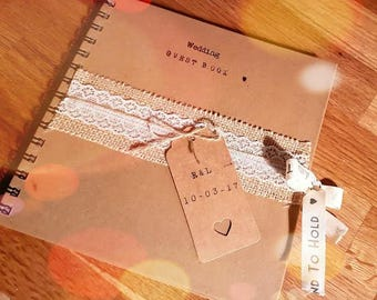 Hessian guest book