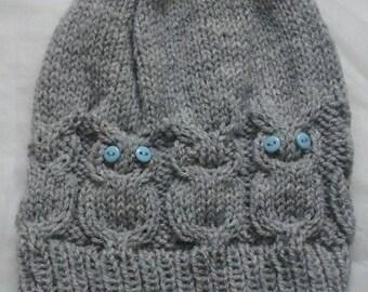 ladies owl hat one size