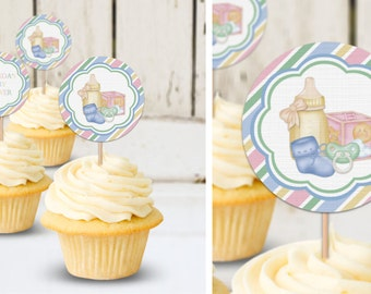 All Things Baby -Baby Shower -Birthday Party Instant Download-EDITABLE PDF, DIY Cupcake Toppers, Favor Tags, Party Stickers Printable Labels