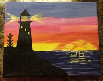 Lighthouse Sunset in Michigan