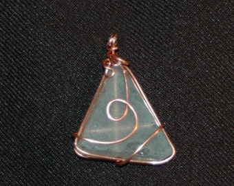 Triangle of Sea Glass Wrapped in Copper