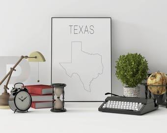 Texas wall art Texas decor Texas print Texas printable Texas art Texas map USA wall art USA Map decor Minimalist art Scandinavian style