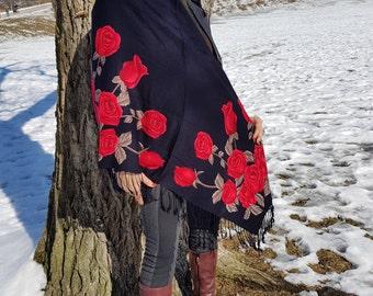 head scarf | scarf | shawl | black shawl | roses scarf | gift for her