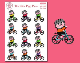Bicycle stickers, cardio, cycle, bike, workout, fitness, planner stickers, [WO 1-05R]