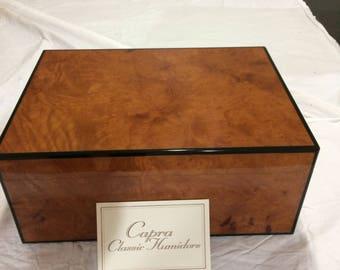 Cigar Humidor Box, Burled Maple wood, Spanish Cedar lined, Handcrafted.
