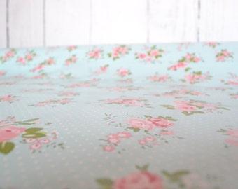 Floral tablecloth fabric, Oilcloth tablecloth, waterproof tablecloth, vintage tablecloth, washcloth material, water resistant tablecloth