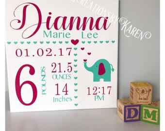 Canvas Birth Announcement, Girl Birth Annoucement