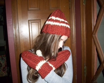 Hand Knitted Hat and Glove Set
