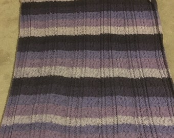 Purple cable baby afghan
