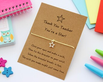 Teacher Wish Bracelet, Teacher Gifts, Wish Bracelet, End of Term Teacher Gifts, Gifts for Teachers, Cord Bracelets, Charm Bracelets,
