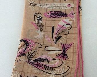 Vintage Pat Prichard Handkerchief Nautical Fishing Design