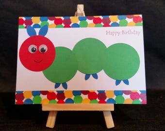 Handmade Birthday Card - Hungry Caterpillar
