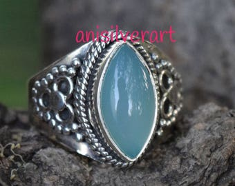 Chalcedony ring, silver ring, 92.5 solid sterling silver ring,  Chalcedony Silver Ring, 92.5% sterling silver (custom size, your size)
