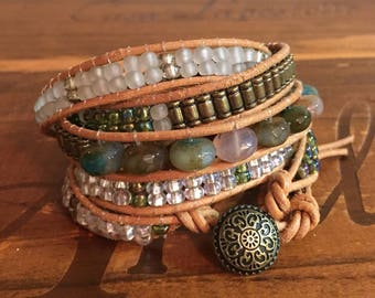 Leather And Gemstone Wrap Bracelet,Jasper and glass beaded wrap bracelet,5 Wrap Bracelet,Boho style bracelet,leather five wrap bracelet,