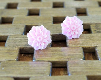 Pink Dahlia Flower Stud Earrings