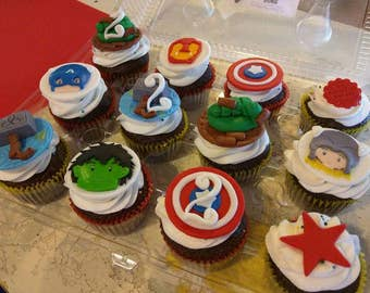 12 Fondant Avengers Cupcake Toppers