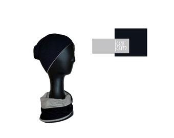 black / grey cotton cap with snood