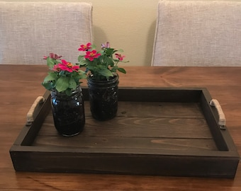 Serving Tray, rustic ottoman tray, breakfast tray, wood serving tray with handles