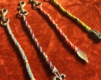 Brazilian string, brass Indian beads keychain