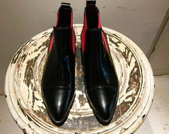 Black and Red leather Boots