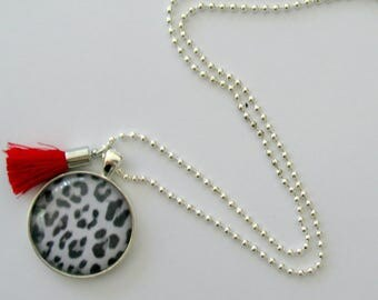 Ladies tassel and pendant necklace, red tassel and leopard print cabochon