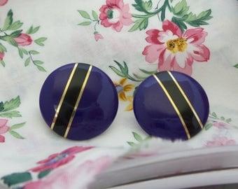 Vintage Large Purple Button Earrings
