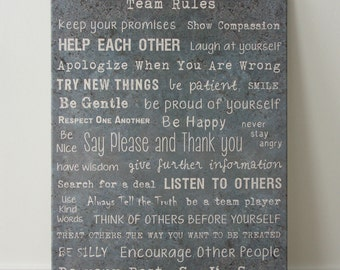 Canvas 'TEAM rules' 80x60cm text font TEXTURE abstract saying print printing fonts