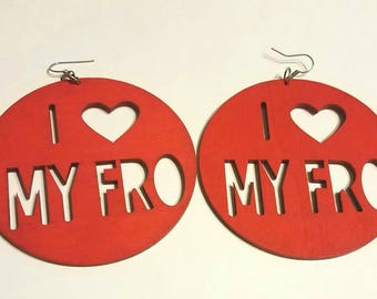 Hand painted Wooden I Love My Fro Earrings