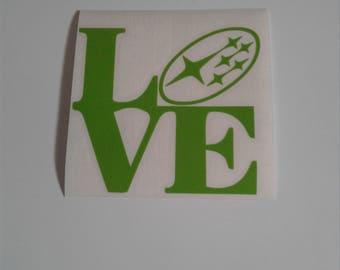 love subaru decal green