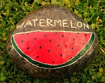 River Rock Garden Marker- Watermelon