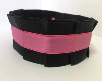 Pleated Satin Collar- Hot Pink