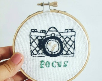 Focus Hoop art || hand embroidered contemporary art || photography