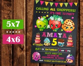 Shopkins Birthday,  Shopkins Invitation, Shopkins Party, Shopkin Invite, Shopkins Printable, Girl shopkins birthday party invites