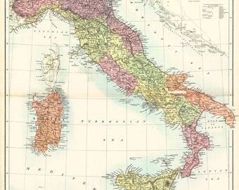Map of Italy from 1890 - Canvas Print