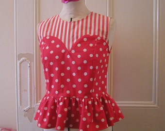 Orange polka dot and stripe cotton sleeveless peplum top made from vintage fabric / size S
