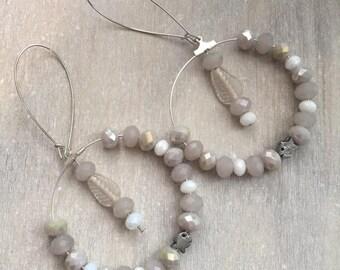 Bohemian earrings white and beige