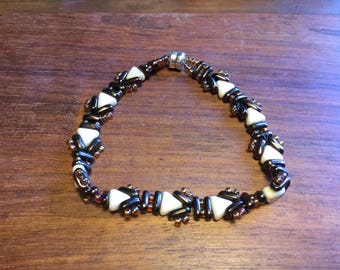 Cream and Bronze Usonia Wrap Bracelet