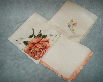 Vintage Women's Handkerchiefs - Three in Peachs and Oranges