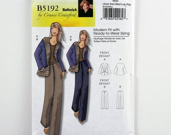 Butterick Pattern 5192 Jacket and Pants, Size XS, S, M, L, Xl, Uncut Easy Sewing Pattern, Casual Jacket, High Hip Waistband Pant, Custom Fit