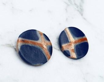 Large Navy Copper Earrings