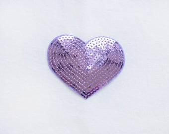 1x sequins purple lilac glitter purple shiny heart patch love burlesque Iron On Embroidered Applique