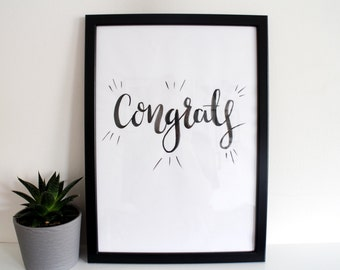 Brush Lettered Typography 'Congrats'