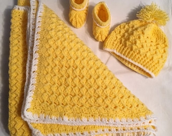 Baby girl set, blanket, hat, booties, yellow, white