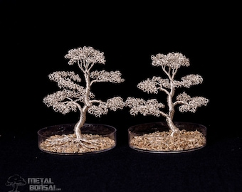 Small Silver Wire Tree Sculpture in Sand Container